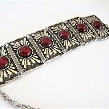 Silver Lucite Bracelet, Red Lucite, Silver Panel Bracelet, Stamped Boho Links, Southwestern Style, Chain Extender