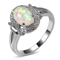 Hot Sale Exquisite White Fire Opal 925 Sterling Silver Engagement Wedding Ring Size 5 6 7 8 9 10 11 A124