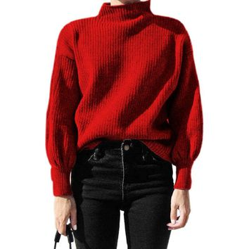 Winter lantern sleeve knitted sweater pullover Women loose round neck red sweater Female autumn casual sweater jumper women