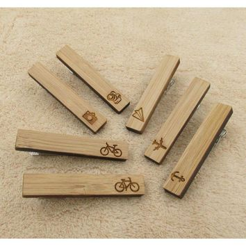 Men's Trendy Icon Collection Wooden Tie Bars/Clips - 7 Styles