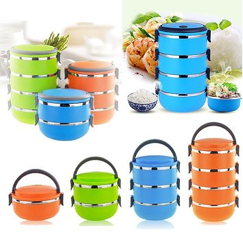 Stainless Steel Thermal Insulated Bento Picnic Storage Mess Tin Food Jar Multilayer Food Container LS