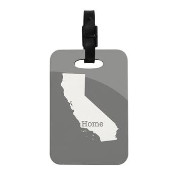 """Bruce Stanfield """"California Is Home"""" Gray White Decorative Luggage Tag"""