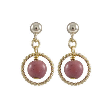 Rhodonite(Pink) 6mm Semi Precious Ball In 10mm Braided Ring, On Gold Plated Sterling Silver Ball Post Earrings, 0.75