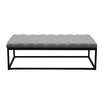 Mateo Black Powder Coat Metal Large Linen Tufted Bench - Grey