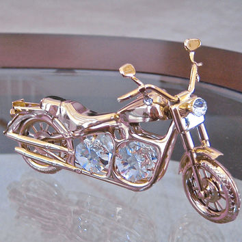 Swarovski Element Motorcycle Figurine, Swarovski Prisms, Rhinestones 24K GP