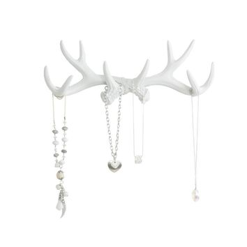 Antler Wall Rack | Deer Antler Hooks | Faux Taxidermy| White Resin