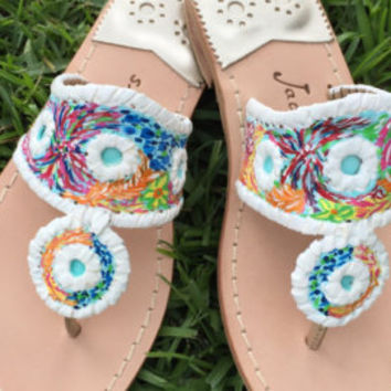 Custom Jacks! Do you own a pair of Jacks that need a little something extra? I can hand paint a design on your already owned sandals.