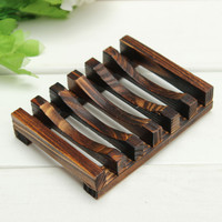 Hot Hale!! Trapezoid 10.8x8x2.5cm Wooden Handmade Bathroom Wood Soap Dish Box Container Tub Storage Cup Rack Durable