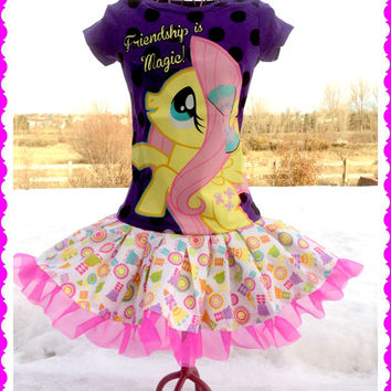 RTS girls My Little Pony Fluttershy Tulle party Dress layers of ruffle size size 4/5 6/6X