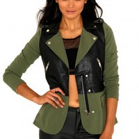 Missguided - Naveena Leather Contrast Zip Detail Jacket