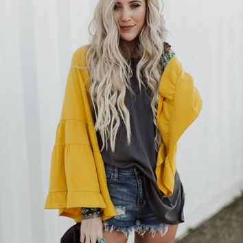 Home Run Ruffle Baseball Tee - Mustard