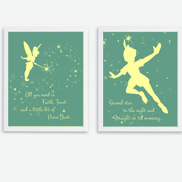 Printable Tinker Bell & Peter Pan Quote Instant Download Kids Art print Nursery Wall Decor Print, Baby Room Wall Art, 8x10 Silhouette Poster