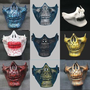 VONEGQ Half Face Paintball Half Face Skull Skeleton Mask Halloween Horror Masks For Adults Halloween Costume