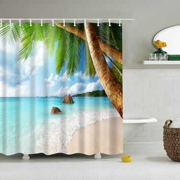 In stock 3d waterfall landscape waterproof home decoration shower curtain beach bathroom products polyester shower curtain
