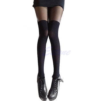 1 PC Sexy Patchwork High Stocking Mock Thigh Over The Knee Ribbed Pantyhose Tight
