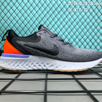 KUYOU N017 Nike Odyssey React 2 Flyknit Breathble Causal Running Shoes Grey Orange