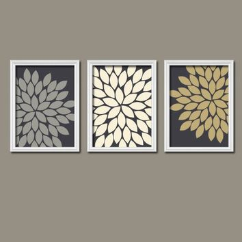 Flower Wall Art, Gray Gold Ivory Bedroom Pictures, CANVAS or Prints, Floral Bathroom Decor, Flower Burst Petals, Set of 3, Floral Artwork