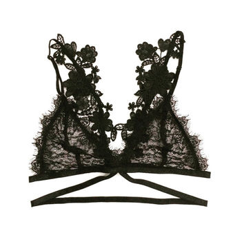 SALE - Sexy Bralette, strappy soft cup bra, lace lingerie - BASIC 2