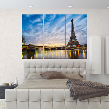 Eiffel tower wall decal Canvas print, Large canvas art framed, home decor gift, 3 pieces eiffel tower print , s179