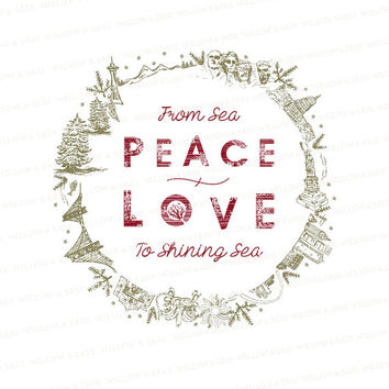 iDownload Holiday Print - Peace + Love From Sea to Shining Sea - Hand Drawn - Us Landmarks - 8x10