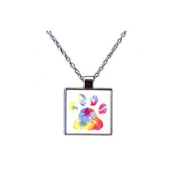 Tie Dye Dog Paw Pendant and Chain Necklace - Free Shipping