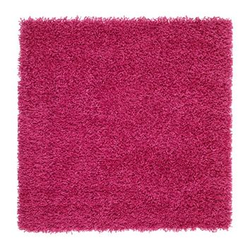 HAMPEN Rug, high pile Bright pink 80 x 80 cm - IKEA