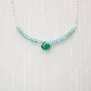 Gemstone Necklace with Green Onyx, Apatite, and Sterling Silver