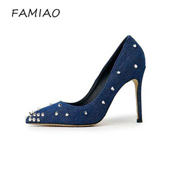 FAMIAO Women's High Heel Wedding Party Pumps Fashion Denim Rivet Studded Stiletto Femal Pointed Toe Dress Shoes Lady With Heels