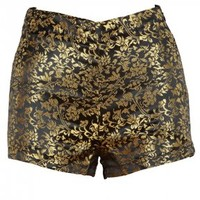 Gold Baroque Print Black High Waist Shorts