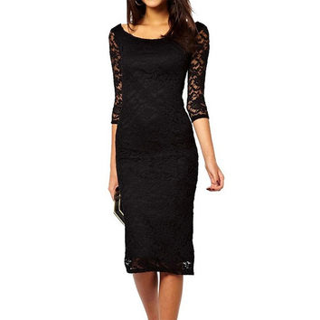 Boat Neckline 2/3 Sleeves Lace Evening Midi Dress