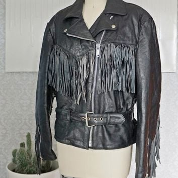 Vintage 1980s Killer Fringe + Leather Biker Jacket