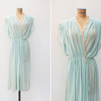 1940s Nightgown - Vintage 40s Mint Dressing Gown - Ice Kindgom Nightgown