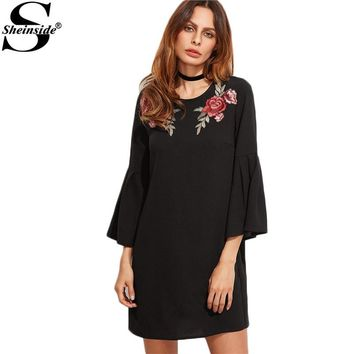 Sheinside Vintage Dress Women Black Boho Embroidered Rose Applique Mini Dresses 2017 Spring Fashion Long Bell Sleeve Tunic Dress
