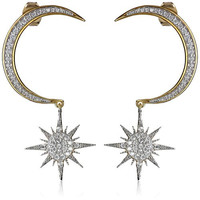 Noir Crescent Moon and Starburst Drop Earrings