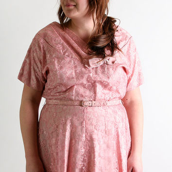 Vintage 1950s Lace Dress - Rite Fit Mauve Light Pink Floral Day Dress