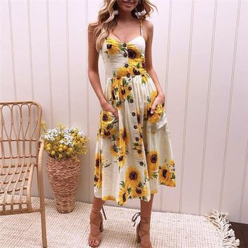 Sunflower Floral Spaghetti Strap Summer Dress