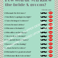 Printable bridal shower/couples shower game/ How well do you know the bride and groom/ Instant download game/ Bridal shower games