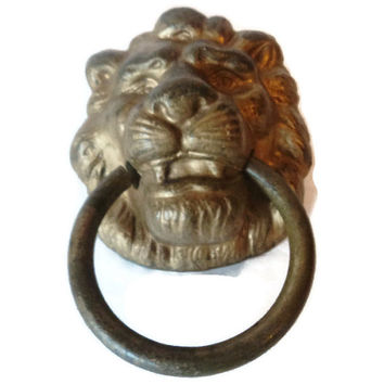 Vintage Lion's Head Drawer Door Pull 1930's Victorian Style Large Solid Brass