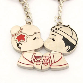 New Sweet Bride Groom Kiss Couple Keychain Keyring Keyfob Weeding Lover Gift