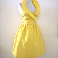 Vintage 90s Buttercup Yellow Cocktail Party Dress - Pale Yellow Silk Shantung Party Prom Dress - Avant Garde Silk Halter Dress - Medium 8