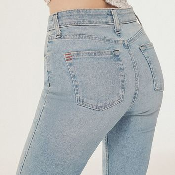 BDG High-Rise Cropped Kick Flare Jean - Light Wash   Urban Outfitters