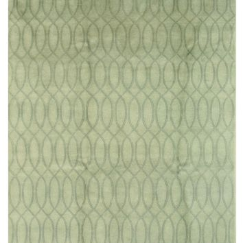 EORC Hand-knotted Wool Green Transitional Floral Indo-Nepalese Rug