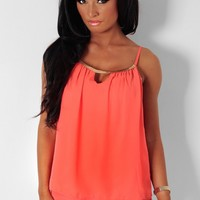 Alcea Coral Layered Chain Detail Vest Top | Pink Boutique