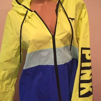 Victoria's Secret Pink Windbreaker Anorak Hoodie Full Zip Yellow/Blue XS/S NWT