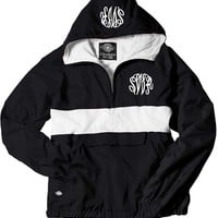 Monogrammed Black and White Pullover Rain Jacket