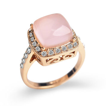 Square created Opal Stone wedding Rings for women Jewelry CZ Diamond rings female Rose Gold Plated AAA Austria Crystals Anel S8