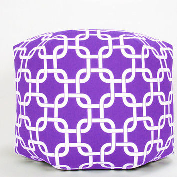 "16"" Wide  x 12.5"" Tall Modern Contemporary Floor Ottoman Mini Pouf/Pouffe  Pillow Stool Candy Purple/White Gotcha"