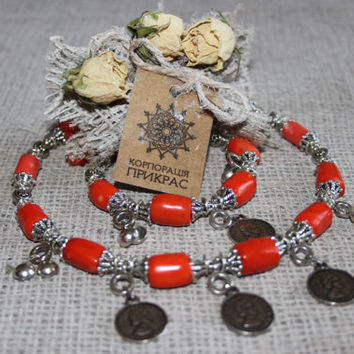 Orange coral jewelry set Ethnic jewelry with coins Short coral necklace and coral bracelet Tribal jewelry Traditional Ukrainian coral choker