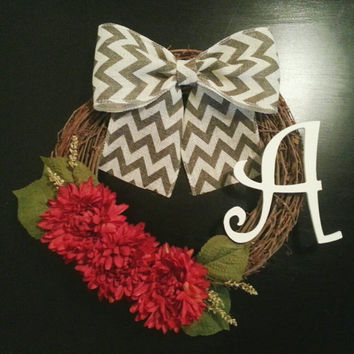 Year Round Grapevine Wreath, Monogram Wreath with Red Dahlias, White Inital and a Chevron Burlal Bow