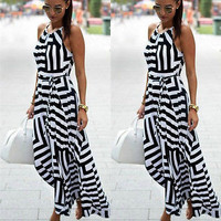 Quality Striped Women Summer Long Dress Fashion Boho Halter Sexy Backless Off Shoulder Female's Dress Casual Beach Vestidos